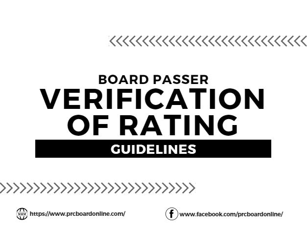 Verification of Rating: Sanitary Engineer Licensure Exam (SELE) January 2020