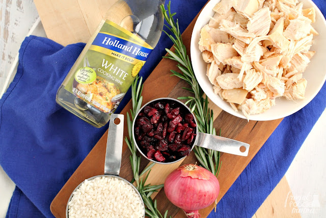 Creamy risotto comes together with fresh rosemary, leftover holiday turkey, sweet & tart cranberries, & flavorful cooking wine in this comforting Turkey & Cranberry Risotto.