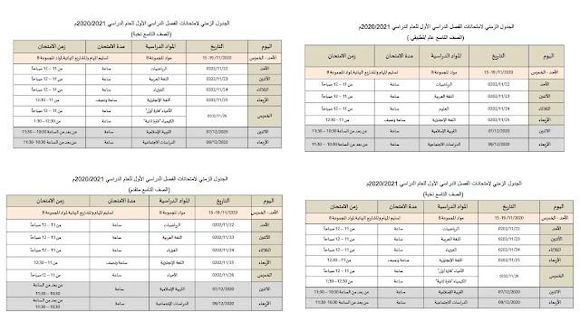 الأن جدول امتحانات نهاية الفصل الدراسي الأول لعام 2020-2021 في الإمارات من الرابع حتى الثامن والصف التاسع والعاشر والحادي عشر والثاني عشر كامل صور