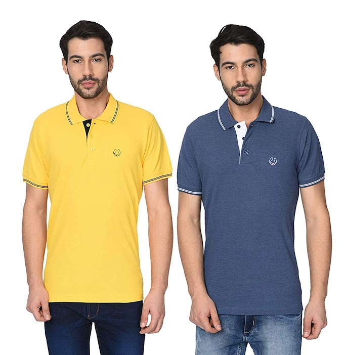 Frùch Men's Polo T-Shirt with Tipping Collar Combo (Pack of 2)
