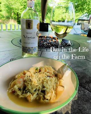 Seafood Biryani and wine