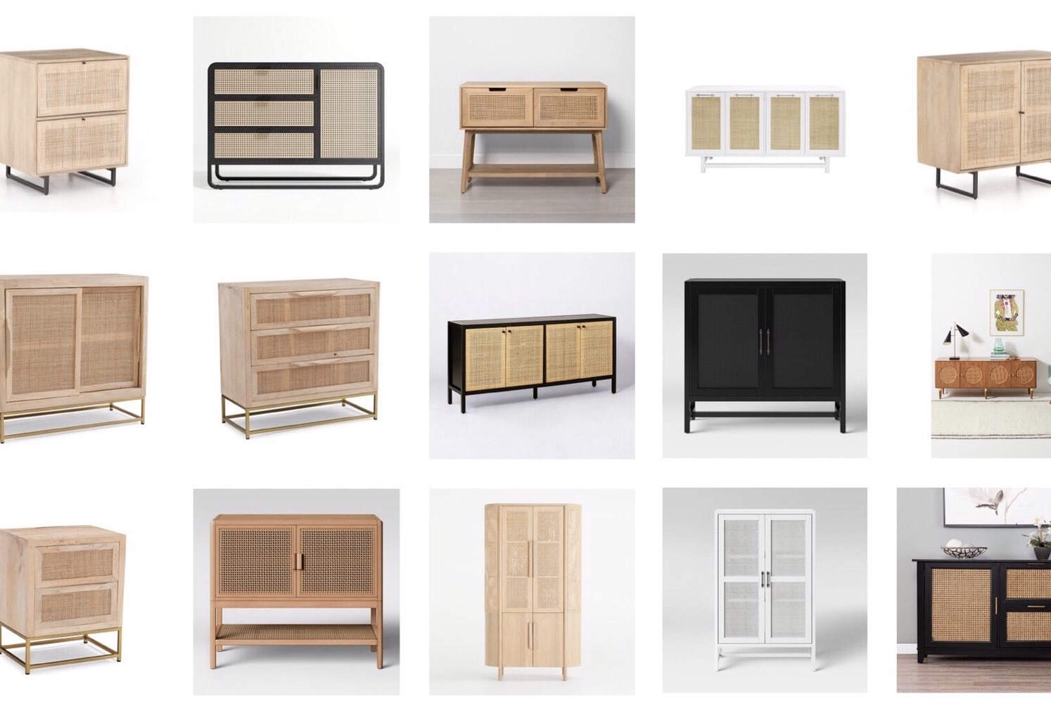 Favourite Finds Cane Cabinets Harlow and Thistle