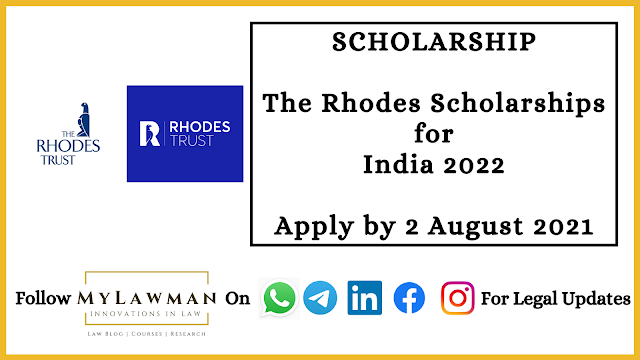 [Scholarship] The Rhodes Scholarships for India 2022 [Apply by 2 August 2021]