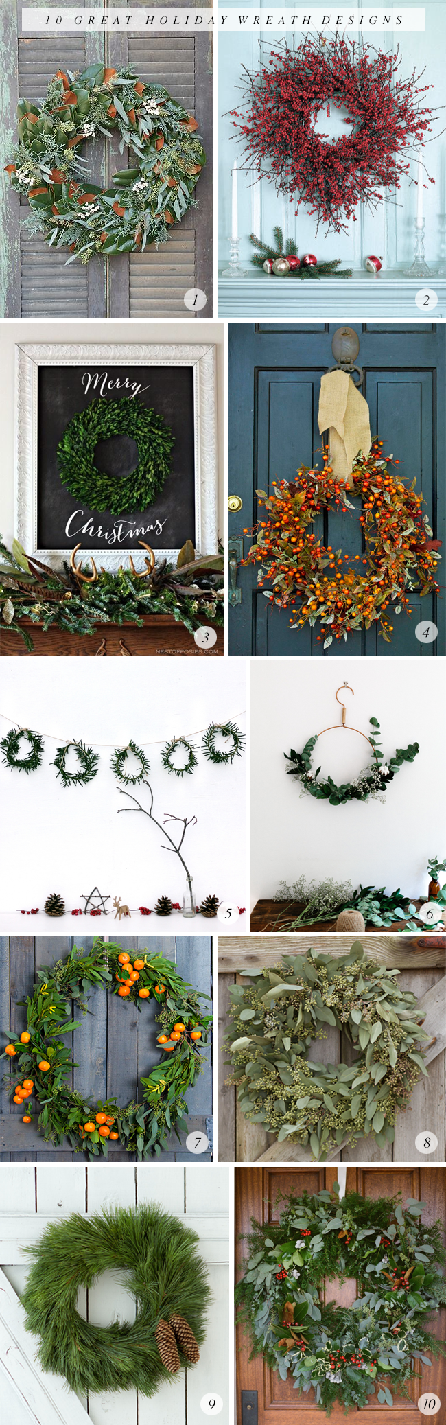 10 Great Holiday Wreath Designs via Bubby and Bean