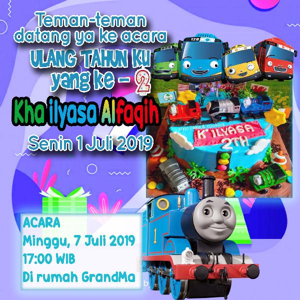 Desain Kartu Undangan Ulang Tahun Ilyasa Ke 2 Tayo & Thomas - Nandur93