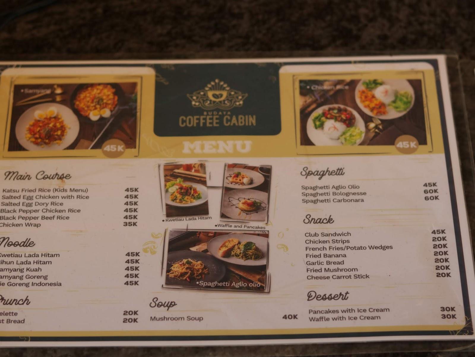 beragam menu makanan di coffecabin budayaland
