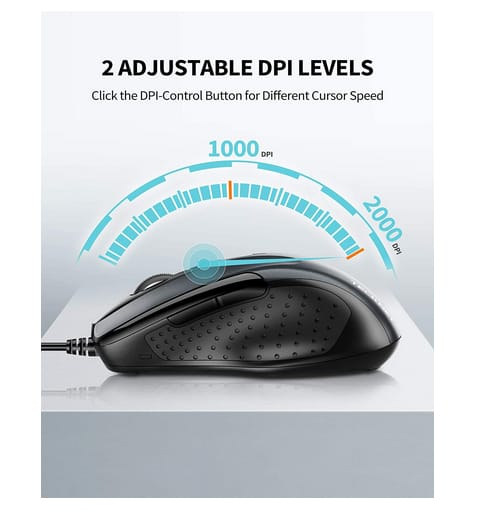 TECKNET USB Wired 6-Button Ergonomic Mouse