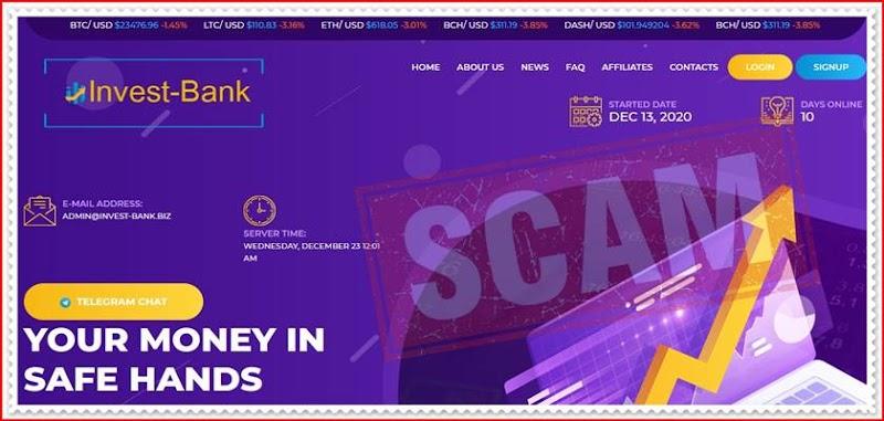 Мошеннический сайт invest-bank.biz – Отзывы, развод, платит или лохотрон? Мошенники