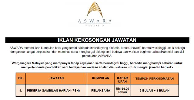 jawatan kosong kerajaan aswara malaysia
