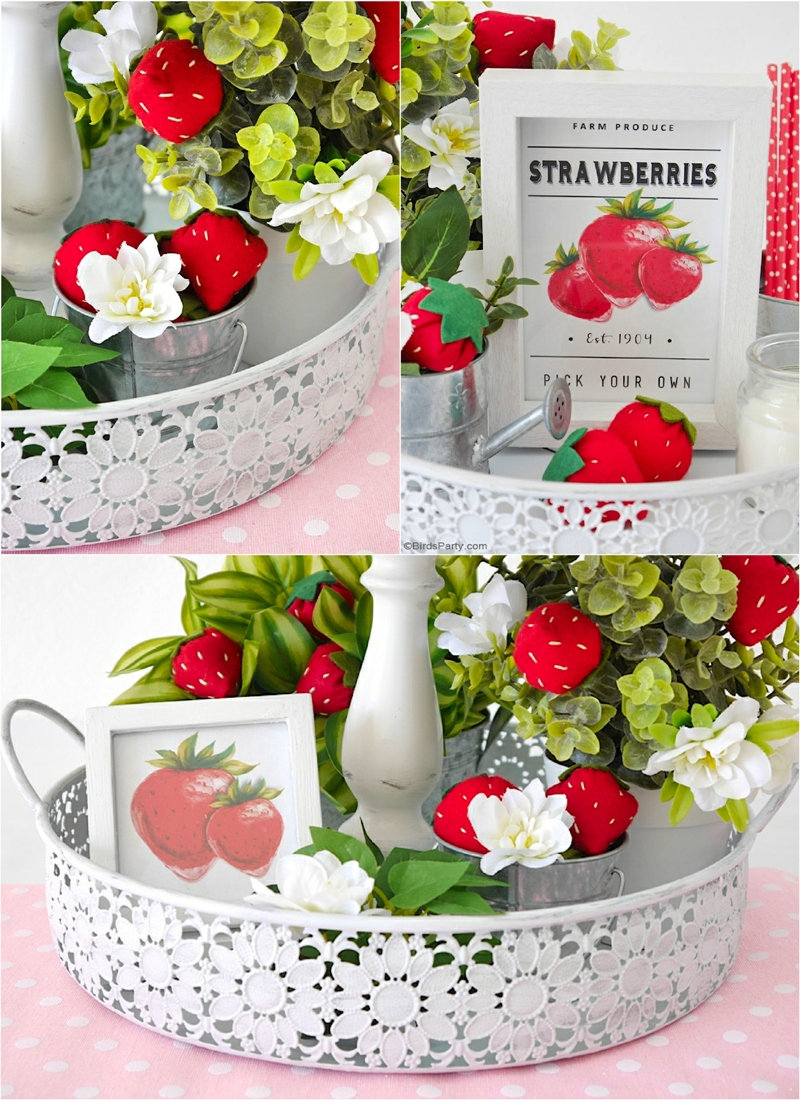 DIY Strawberry Farmhouse Decor + FREE Felt Strawberry Template - easy craft projects to decorate your home, tiered tray or table centerpiece! by BirdsParty.com @birdsparty #feltstrawberries #homedecor #summerdecor #strawberrytieredtray #tieredtray #farmhousedecor #farmhousestyle #farmhouse #strawberrysigns