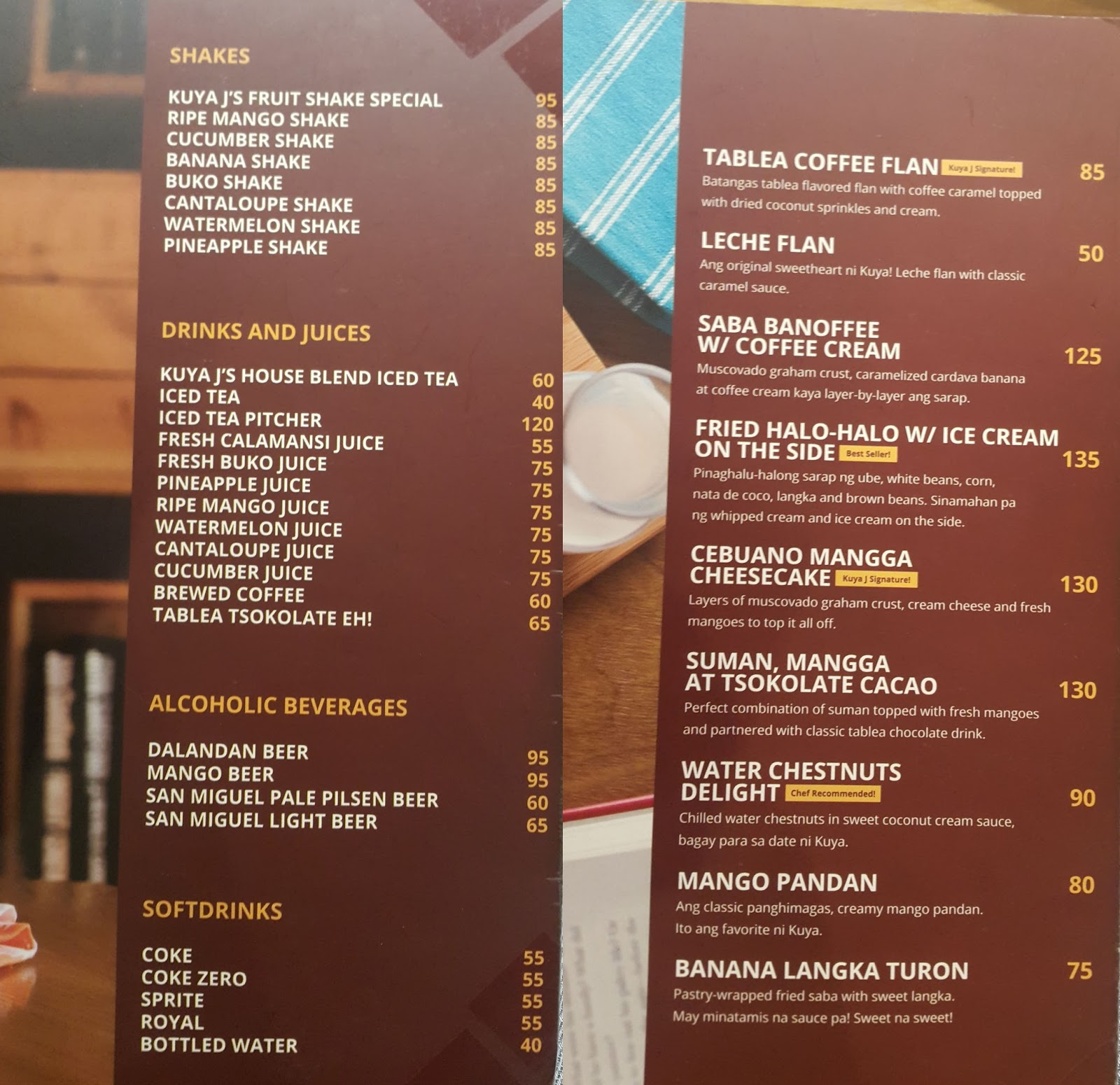 Mr A Restaurant Cebu Menu