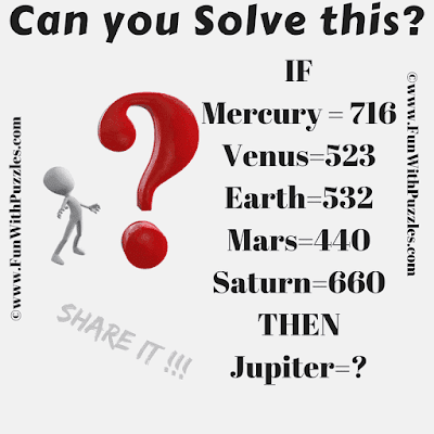 If Mercury=716, Venus = 523, Earth = 532, Mars = 440, Saturn = 660 Then Jupiter = ?