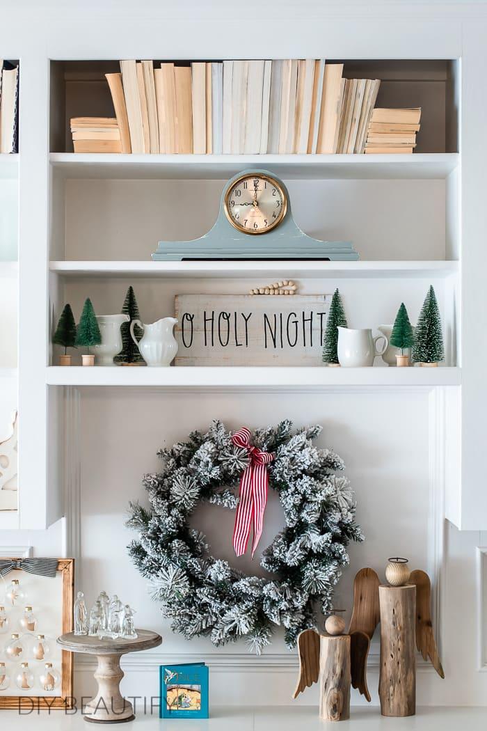 bottle brush trees and flocked wreath