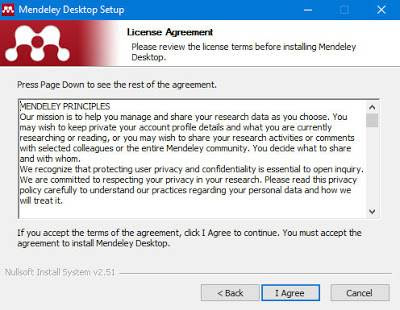 Instal Mendeley, License agreement Mendeley