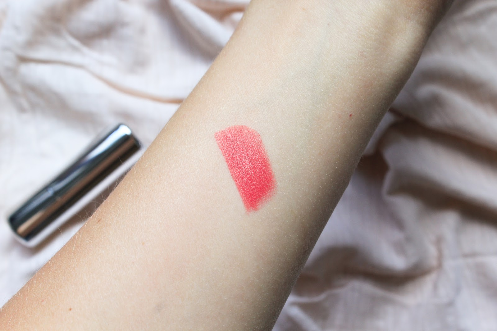 Ere Perez Olive Oil Lipstick in the shade Birthday. Love Lula. Summer Coral. Swatch