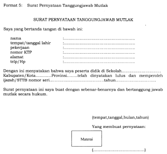 Format Surat Pernyataan Tanggungjawab Mutlak Sptm Untuk Pengajuan