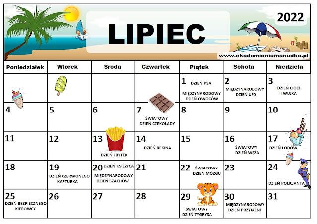 Kalendarz świąt nietypowych dla dzieci na rok szkolny 2021/2022 lipiec