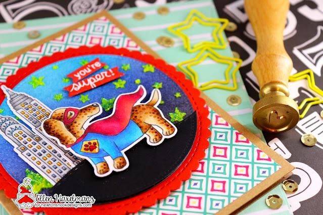 Superhero card by Ellen Haxelmans | Dress Up Doxies Stamp Set, Circle Frames Die Set and Cascading Stars Stencil by Newton's Nook Designs #newtonsnook #handmade