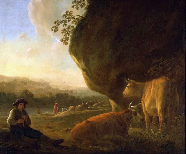 Альберт Кёйп - Пейзаж с пастухом, играющим на флейте