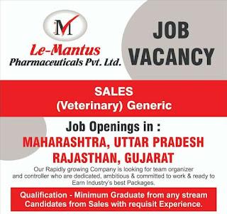 Le-Mantus Pharmaceuticals Pvt. Ltd Recruitment For  BA, B.Com, BSC, BCA (Graduate) in Maharashtra, Uttar Pradesh, Rajasthan, Gujarat Location