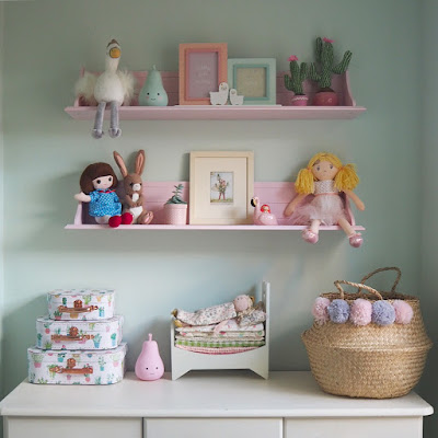 Pink shell any which way shelves from Great Little Trading Co with all Ellie's favourite things on