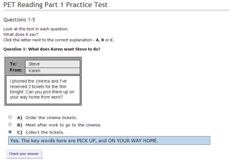 English Folder: PET Reading Part 1 Practice Test