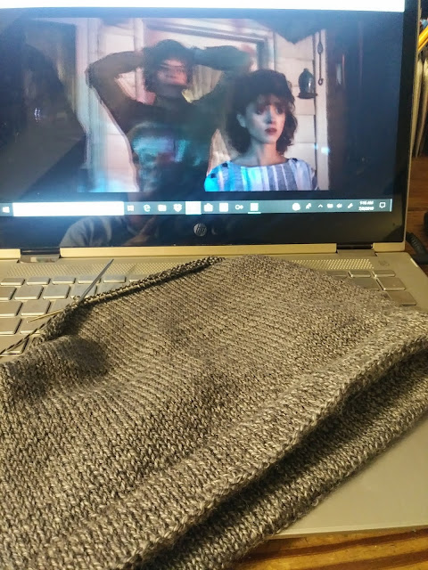 Knitting a stockinette hat with Cascade Heritage Wave yarn while binge watching Stranger Things