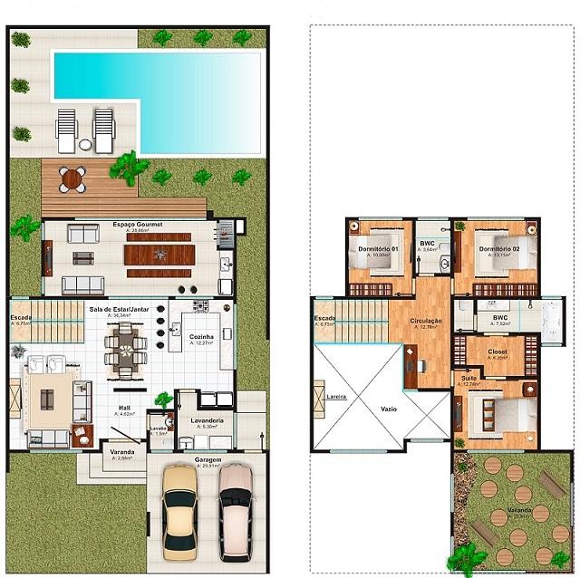 Plano de casa de 256 m2 planos de casas gratis y - Planos de casas con patio interior ...