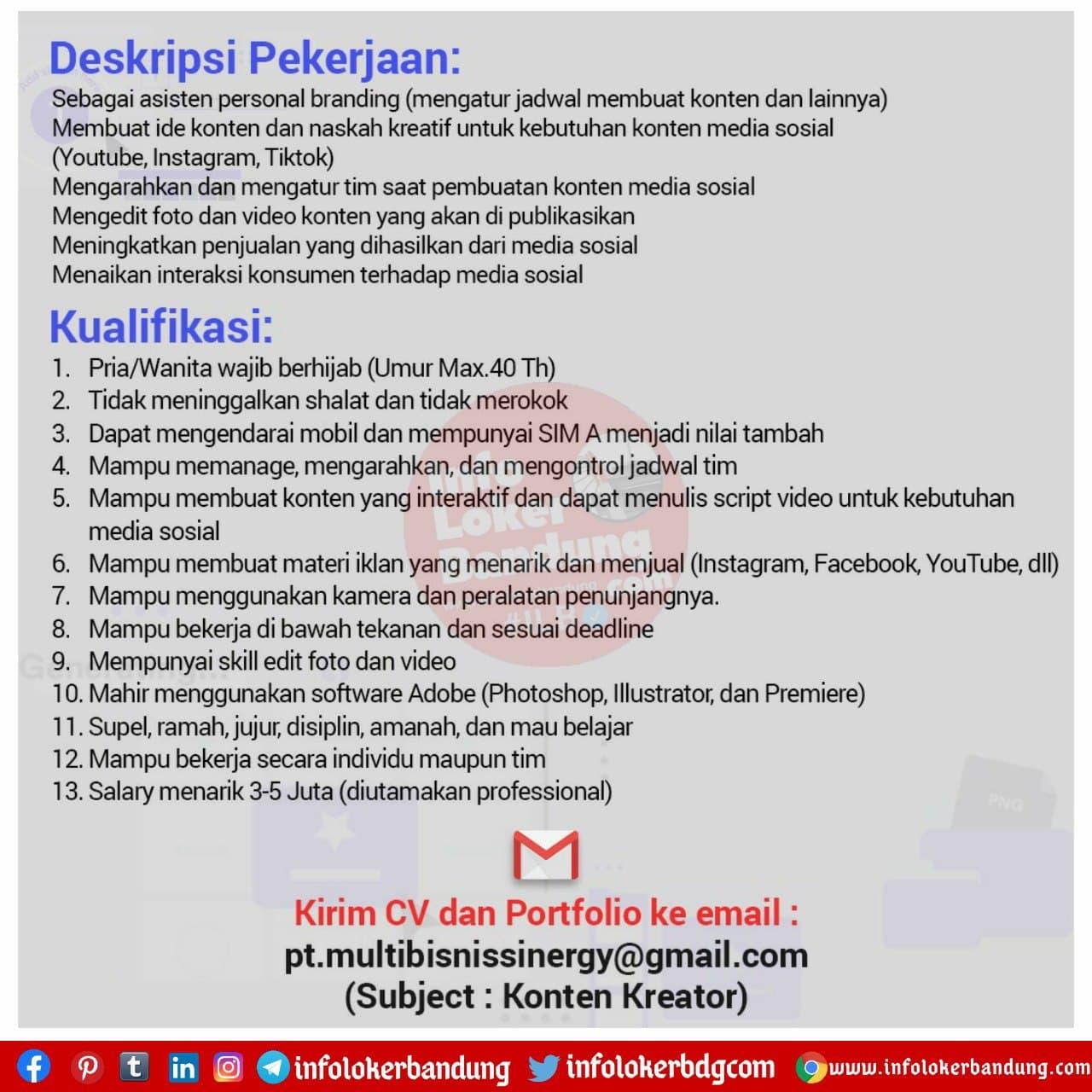 Lowongan Kerja PT. Multi Bisnis Sinergy Bandung November 2020
