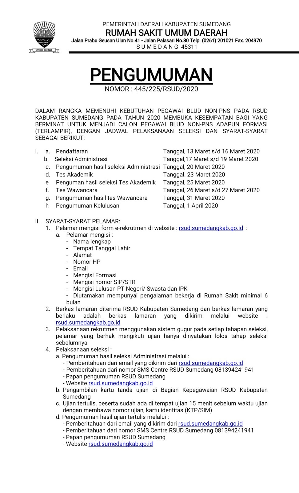 Rekrutmen Tenaga Non PNS Rumah Sakit RSUD Sumedang Besar Besaran Bulan Maret 2020