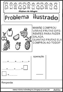 Problema ilustrado para alfabetização