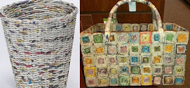 Rounded Basket From Recycled Newspaper