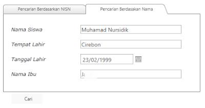 mencari nisn berdasarkan nama tempat tanggal lahir