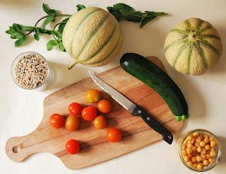 Taboulé quinoa melon courgette