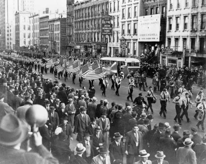 The German American Bund marches through New York City in 1939