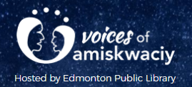 "logo for ""voices of amiskwaciy"" telling our stories project."