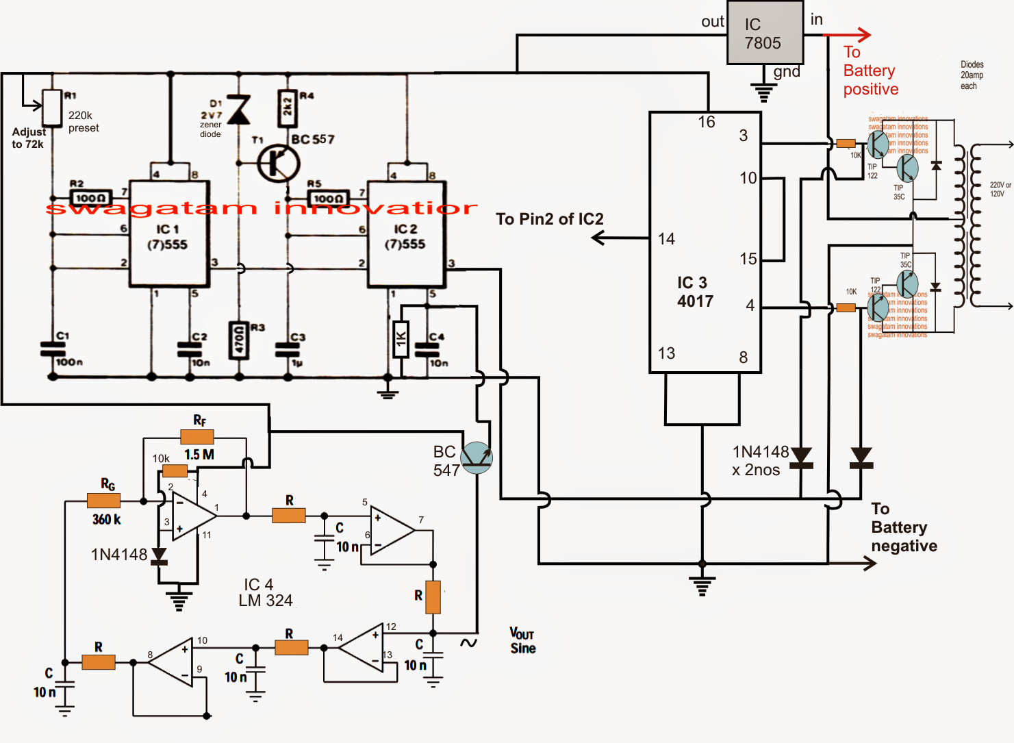 Solar Pump Inverter Circuit Diagram Not Lossing Wiring Battery Charger Sine Wave Using Bubba Oscillator Dc To Ac