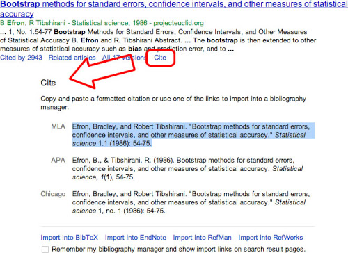Google Scholar Blog Cite from search results
