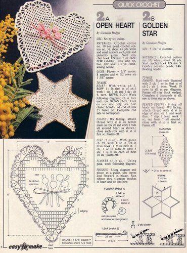 Enfeites de coração de crochê com gráfico