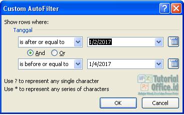 Date filter excel