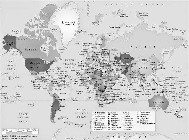 Gambar Peta Dunia Hitam Putih