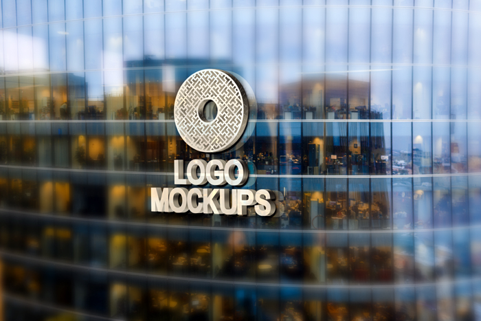 3D Word Logo Mockup For Building Glass Exterior Wall