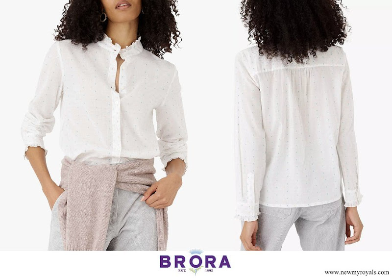 Kate Middleton wore Brora Dobby Cotton Blouse