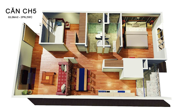 Thiết kế căn hộ 05 tháp doanh nhân