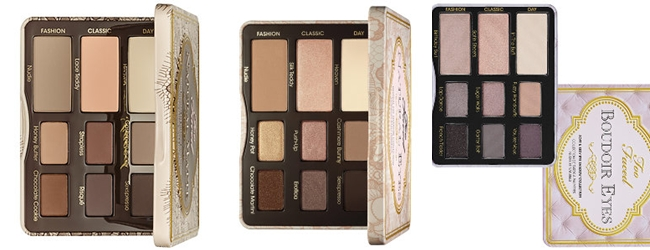 Too Faced eyeshadow palettes: Natural Matte,Natural Eye,Boudoir Eyes
