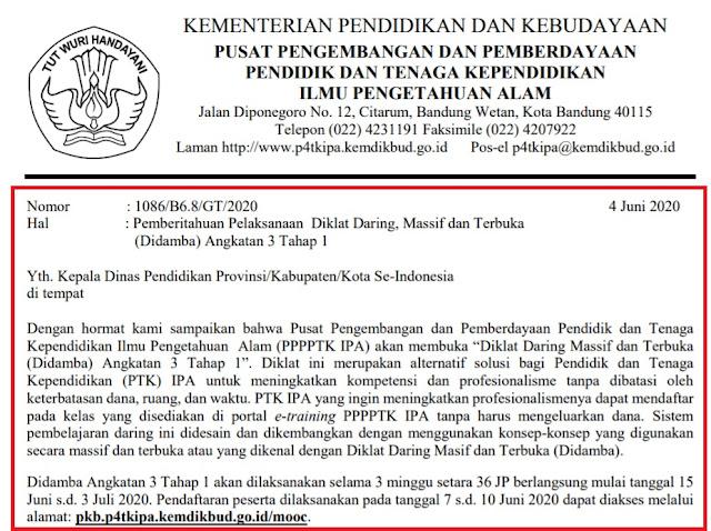 gambar surat Diklat Daring, Massif dan Terbuka (Didamba) Angkatan 3 Tahap 1