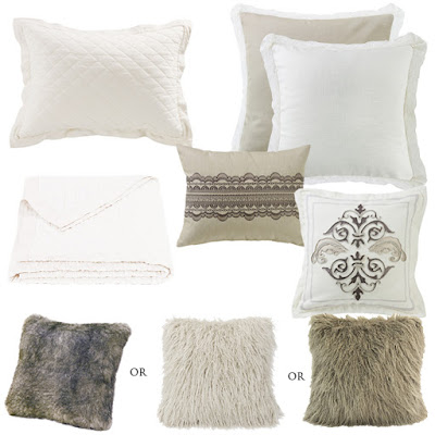 Charlotte Euro sham and decorative throw pillows, faux fur pillow, white diamond pattern linen quilt and pillow sham