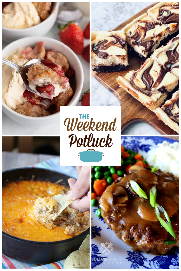 A virtual recipe swap with Cream Cheese Strawberry Cobbler, Nutella Cheesecake Brownies, Taco Dip, Southern Salisbury Steak and dozens more!