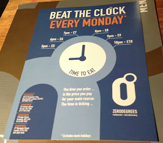 Zerodegrees-Microbrewery-and-Restaurant-Cardiff-Review-picture-of-advert-for-beat-the-clock