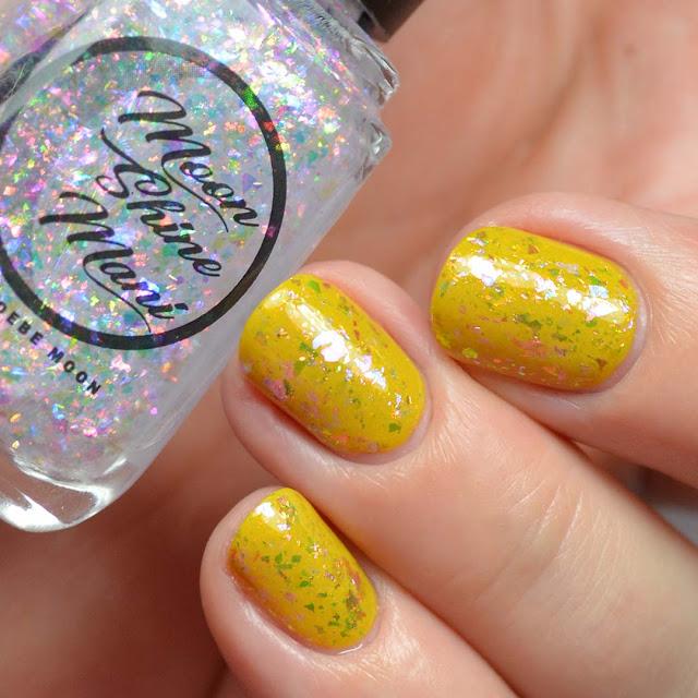 rainbow flakie nail polish topper